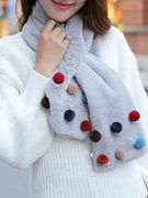 Hot winter scarf female rabbit hair color all-match Korean students Plush Faux Fur turtleneck Plush cross