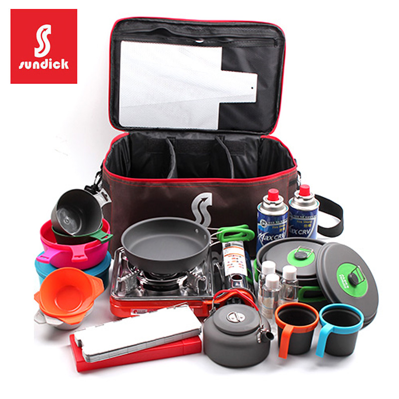 Mountainous customers cooker sets, pans, gas tanks, collision-proof reception packages, picnic kitchenware packages, barbecue packages, ice packs, large capacity