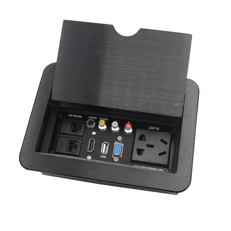 [The goods stop production and no stock]Beiqiao LC-0419 Lifting Desktop Socket Multimedia Conference Dual Network AV Audio and Video HDMI Power Supply USB