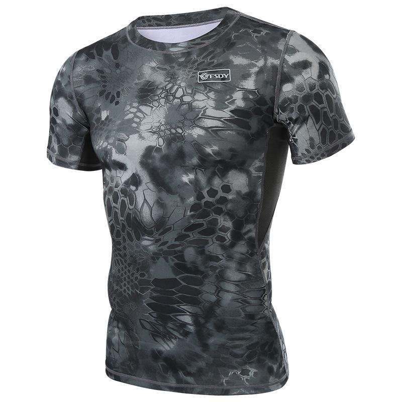 Outdoor python-print quick-dry T-shirt for men's self-cultivation camouflage short-sleeved tactical T-shirt for special forces with bottom shirt and half-sleeve T-shirt