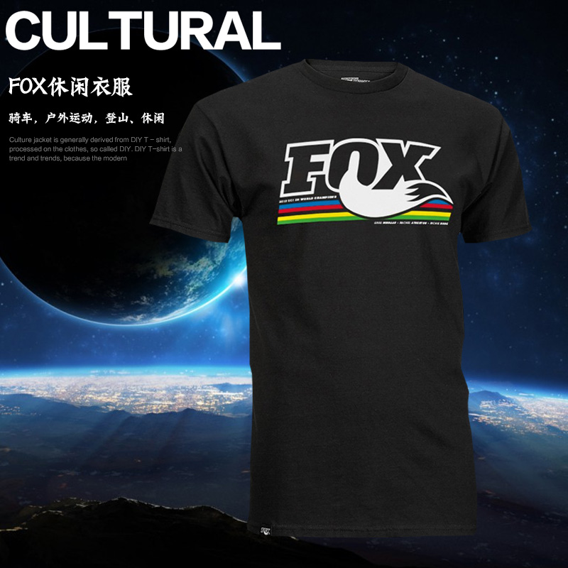 New United States Genuine FOX racing shox Heritage Strip Short Sleeve Quick-drying Leisure T-shirt TLD