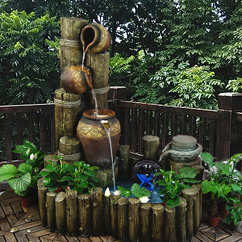 Rockery Water Fountain Fishbowl Living Room Fengshui Boat Recruitment Balcony Courtyard Office Bamboo Landscape Decoration
