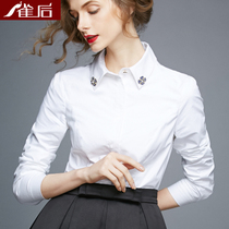 After the bird school Han Feng Fan white shirt women long-sleeved cotton OL business wear student uniforms shirt-inch shirt