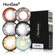2 HanGee year behind natural cosmetic contact lenses size mixed grey brown color invisible glasses in Korea