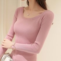 Autumn new one-word collar sweater Korean women wild long-sleeved tight bottoming shirt short paragraph sets of thin sweater