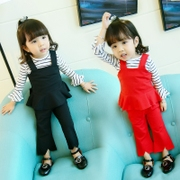 1 Girls female baby 2 female baby children 3 years old half autumn autumn clothing stripe suit three Korean children