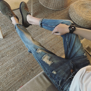 Summer thin section of the nine men's jeans and young men slim Korean style hole Haren pants pants pants