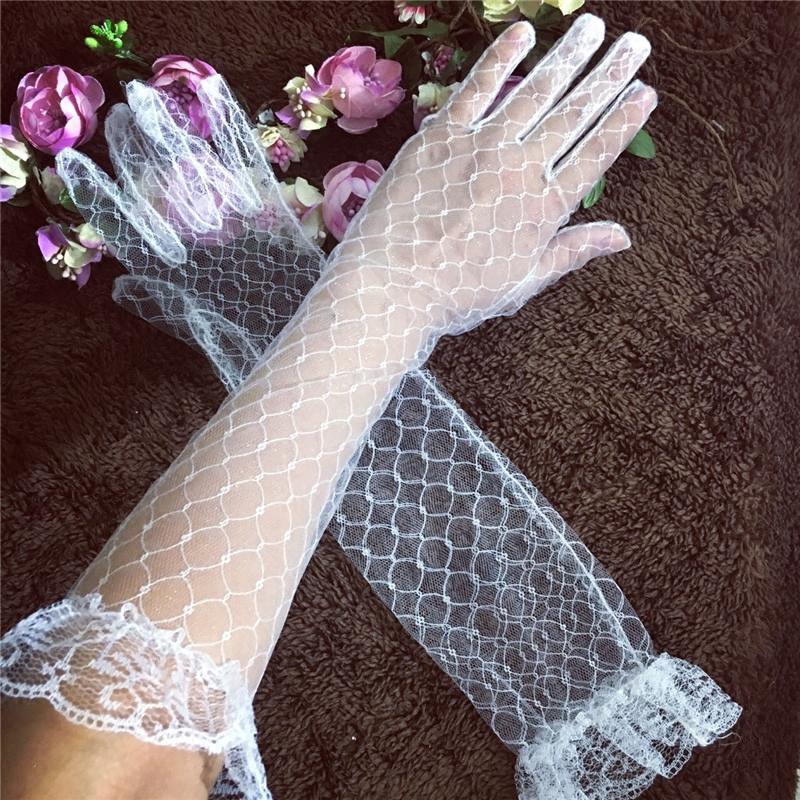 Summer thin transparent mesh Bridal Gloves extended wedding dress accessories lace long gloves package