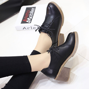 Shoes female college wind band tendon end with coarse retro shoes new shoes. The British documentary in spring and Autumn