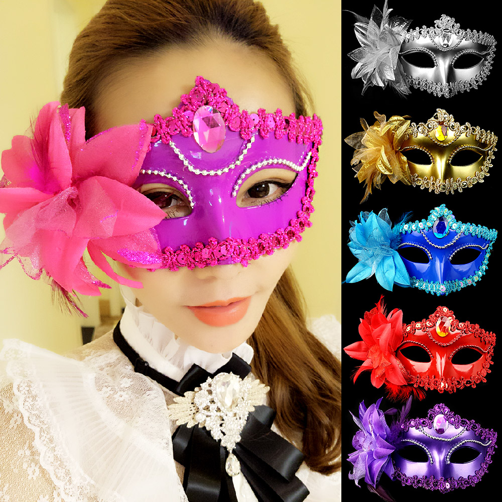 Cosplay,Halloween Mask for girl,Spirit Halloween goddess mask female masquerade side flower half face sexy princess sexy makeup party show