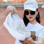 Lok Fu shoes shoes and thick bottom flat shoes increased lazy breathable shoes casual shoes white Muffin