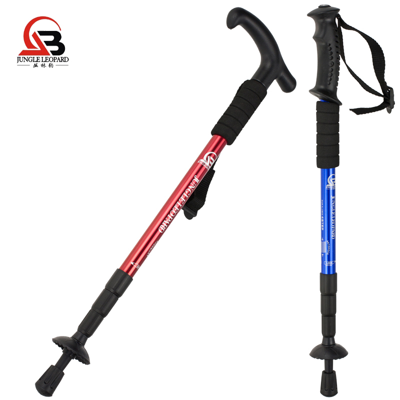 Jungle Leopard Outdoor Genuine Aluminum Alloy Mountaineering Cane T-handle Straight Handle Walking Mountaineering Crutches