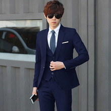 Suit suit men's three-piece suit autumn and winter business suits occupation small suit groom groomsmen groom wedding dress