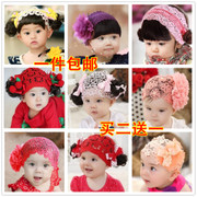 The girl with red wig bag mail baby breathable baby 100 days age as summer South Korea all-match bangs hair