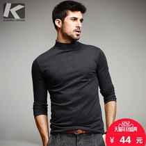 [包邮] cool clothes men's high collar collar shirt men fall Slim Slim long-sleeved T-shirt autumn clothes 803