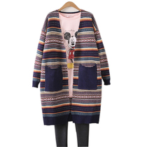 Fall plus size women wear loose thin sweaters womens Cardigan long fat mm Joker in striped sweater coat women