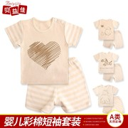 Bei Yijia two piece children short suit baby cotton male virgin children 0-1-2-3 years old baby summer
