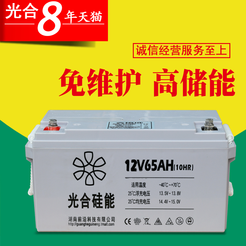 Photosynthetic 12V65AH Silicone Battery Lighting Spare Battery Solar Energy Storage Battery 12V Battery