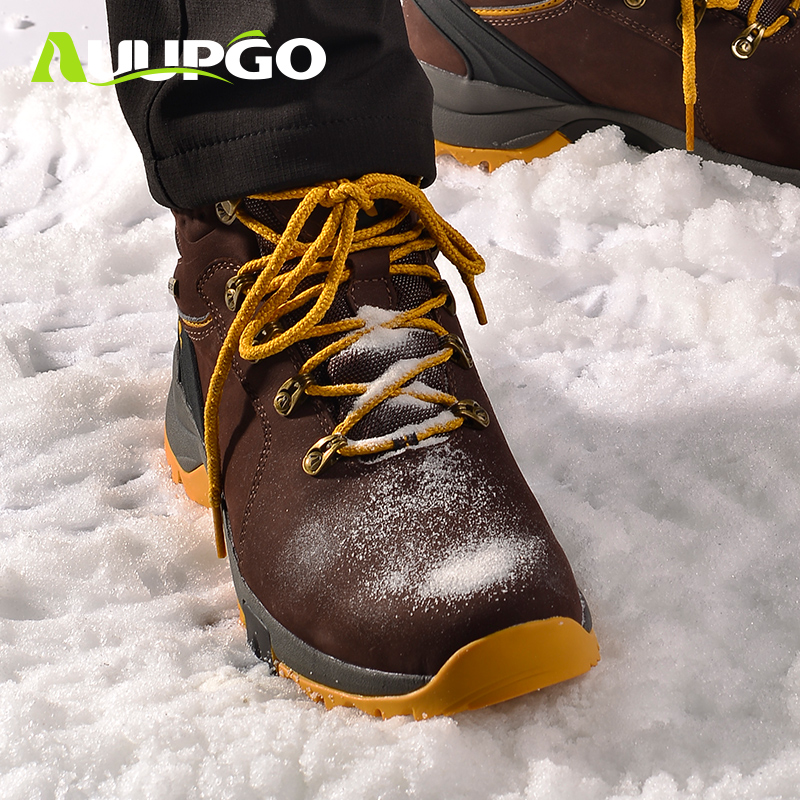 Still walking outdoor snow boots men and women winter waterproof leather hiking shoes walking shoes wear-resistant non-slip warm ski shoes