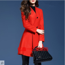 DG genuine purchasing DG womens 2017 spring new slim coat in a versatile v-neck woolen coat