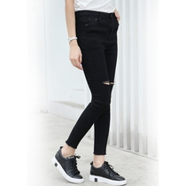 Korean version of black ripped jeans womens spring and summer slim feet nine students stretch slim pencil