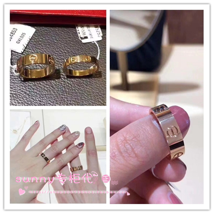 Cartier/Cartier classic love wide and narrow version ring 18K gold without/single diamond pair ring wedding ring