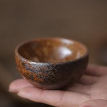 Coarse pottery glaze water imitation wood burning master cup small tea single cup Tea tasting cup Incense cup Kiln becomes handmade Kung Fu tea art tea lamp