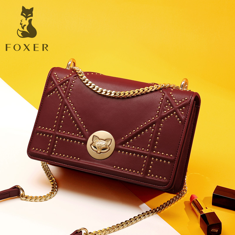 Golden Fox counters authentic bags female Messenger bag rivet small square bag 2018 new Europe and America wild shoulder bag tide