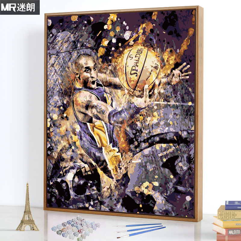 Digital Oil Painting Diy Oil Painting Characters NBA Star Kobe Bryant Fill Painting Hand-made Digital Fill Painting Hand-painted Decorative Painting