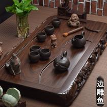 Black sandalwood tea tray Solid wood log Household tea table Large Mahogany tea sea simple drainage Gongfu tea set