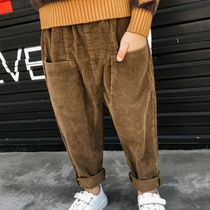 Boys spring and autumn corduroy pants article cashmere Diddy new style small child in the Big child loose harem pants tooling tide