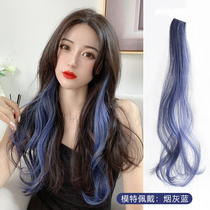 Ear-dyed long curly wig 髮 fake 髮 female color pick-and-dye large waves invisible 髮 short patch.