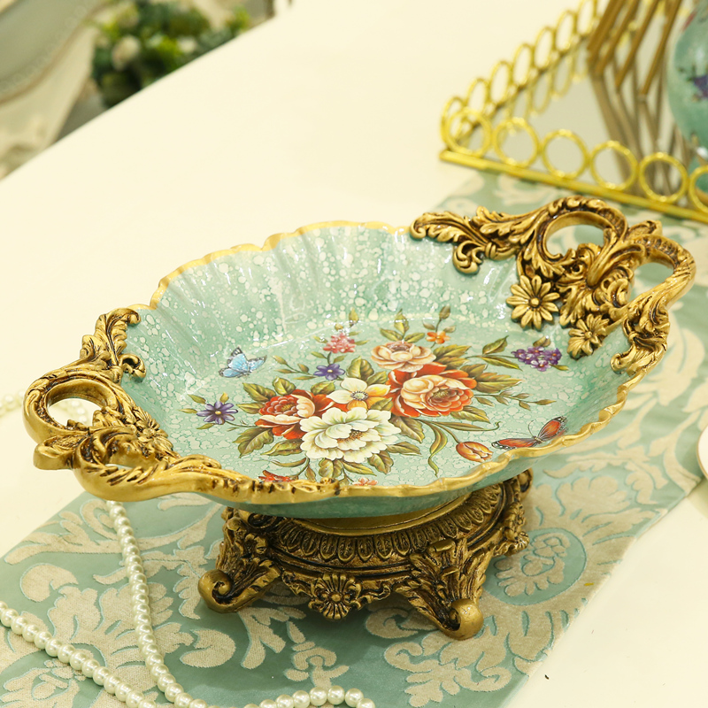 Flower-fox European-style pastoral flower-bird fruit pan display creative home living room decoration fruit pot decoration