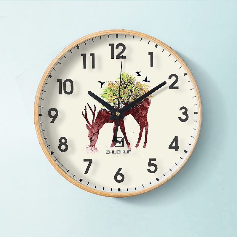 Clock, Clock, Watch, Dining Room, Individual Creativity, Fashion, Household Modern Simple Solid Wood Atmospheric Art Quartz Clock