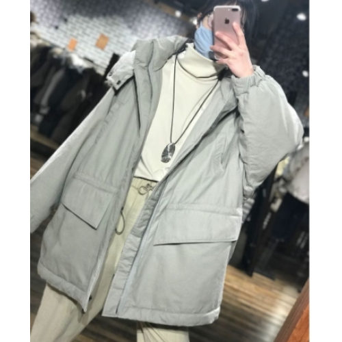 (B)bamboo stone house new medium-long hooded flannel cotton coat women do not return or change 1220119