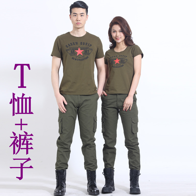Military Green Pentagon Marine Dance Camouflage Clothes Thin Summer Suit Women Camouflage Short Sleeve T-shirt Camouflage Pants Men Summer