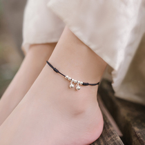 Bell anklet female red rope belt Bell with sound water sound sexy simple silver ancient style student Mori Department hand-woven