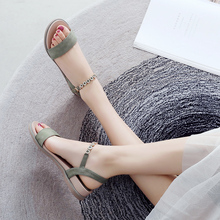 ZHR Sandals Woman 2019 New Fashionable Gentle Roman Summer Fairy Wind Flat-soled Woman Shoes with Mid-heels