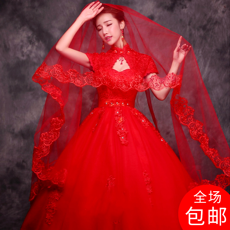 Bride's wedding headdress beautiful red Korean single-deck Wedding Lace Wedding Dress Accessories super-long tail-tailed headdress