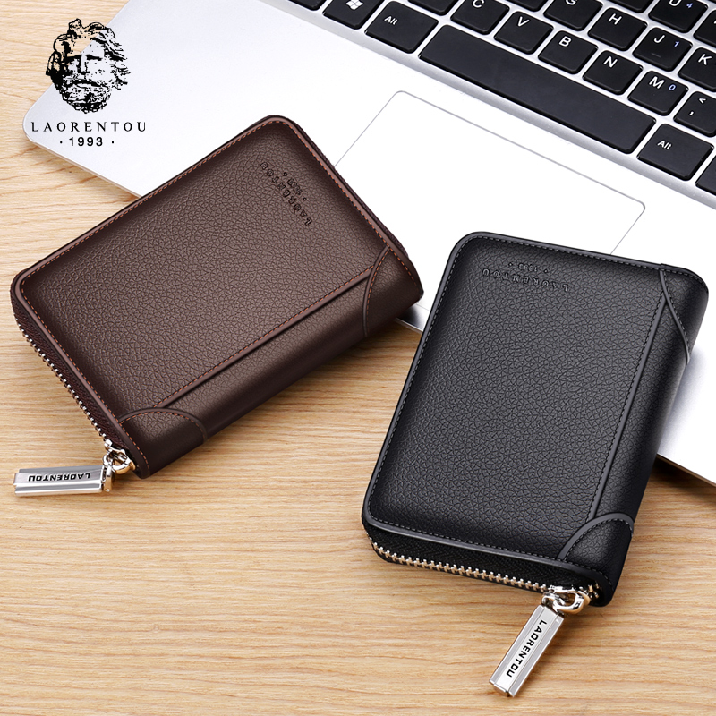Business of large capacity zipper card bag for old man's head, leather multi-card seat, cowhide card bag, business card clip