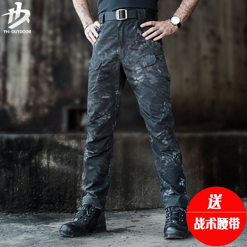 Yihe outdoor tactical pants men's combat military pants military fans Slim special forces training pants casual overalls hiking pants