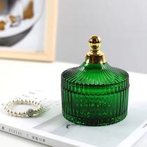 Скандинавский винтаж темно-зеленый хрустальное стекло ящик для хранения тиснением шкатулка конфеты браслет ювелирные изделия коробка косметическая коробка