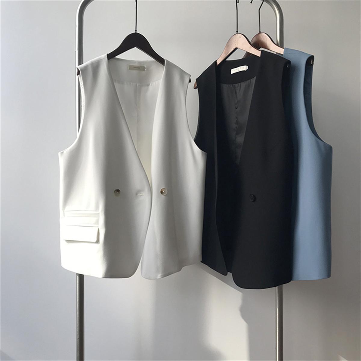 Sleeveless suit vest coat women 2021 spring new Korean version casual loose wild back heart horse clip waistband
