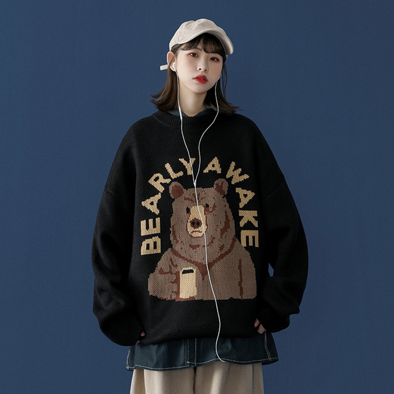 (Buy one to send one) sweater girl loose outside wearing Korean set bear 2020 new autumn winter sweater girl