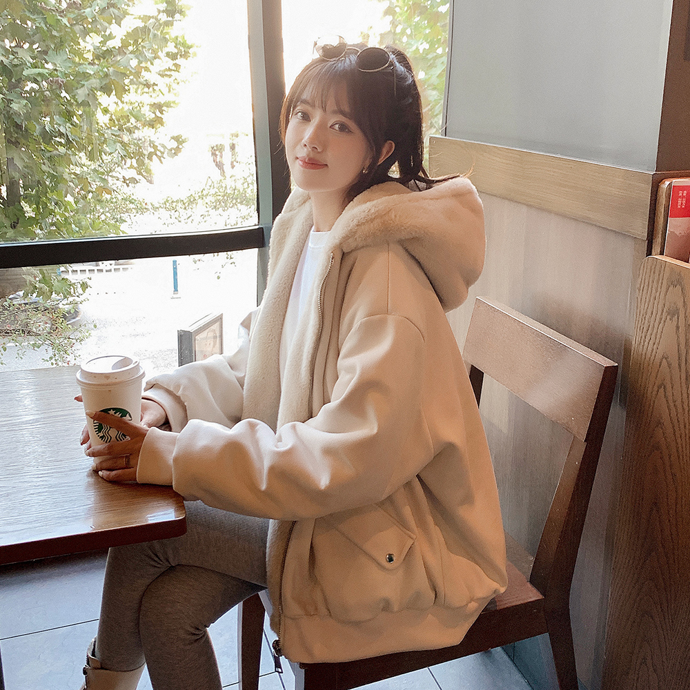 Jacket 2020 new womens autumn winter 100-year-old Korean version of loose-fitting double-sided wearing a pilot hooded plush jacket jacket