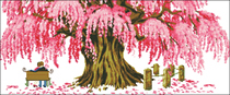 Cross stitch electronic drawings 6579 watchman happy love pink trees XSD source file