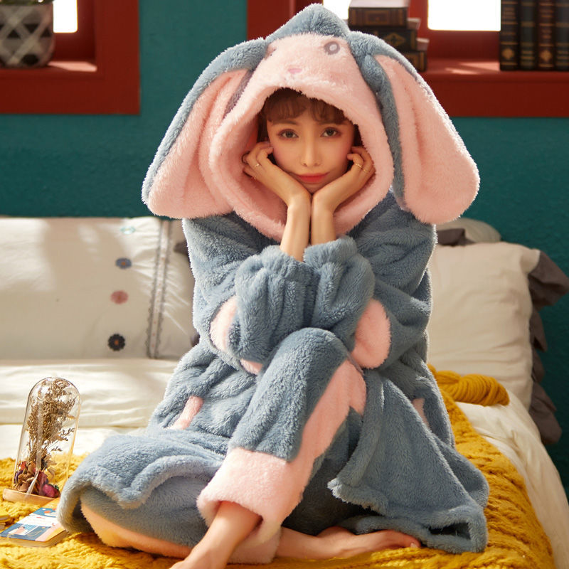 Pyjamas autumn winter coral velvet plush long robes cute frankincly can wear home clothing suits