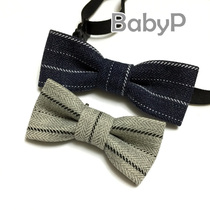 0-3 years old original design pure hand baby small bow tie Tibetan blue gray pinstripe boys baby bow tie