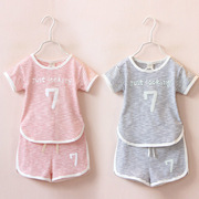 Foshan Childrens Kids Children summer suit for girls two piece children Korean Short Sleeved leisure suit