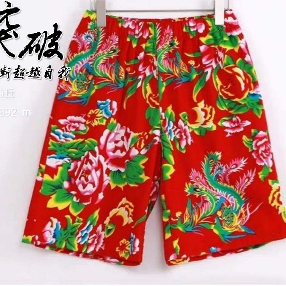 Northeast big flower cloth beach pants mens and womens shorts summer quick dry breathable seaside flower casual shorts loose five-point pants